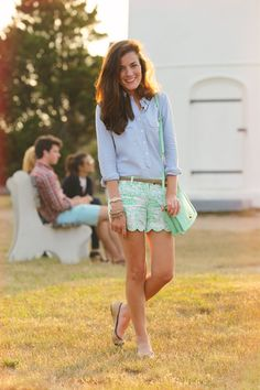 Mint shorts and blue shirt.