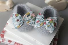 Angora baby booties with Liberty fabric bowtie by fallinlo on Etsy, €25.00
