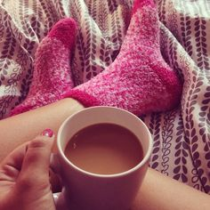 This is me many times. right down to the socks! In fact, I own these exact socks! And this is even how I take my coffee. with milk and Splenda, to be exact! Fluffy Socks, Cozy Socks, Parfait, Chica Gato Neko Anime, Pink Socks, Relaxing Day, Everything Pink, Happy Socks, Getting Cozy