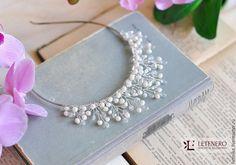Купить Свадебная диадема, ободок из речного жемчуга - голубой, украшение для…