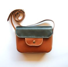 BROWN LEATHER PURSE / Leather bag / pouch / corssbody bag por Lanhe