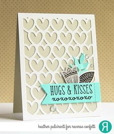 Reverse Confetti | Hugs & Kisses, Valentine's Day Card, XOXO, Flowers, Hearts, Die Cuts, Gray, Black, Teal, White