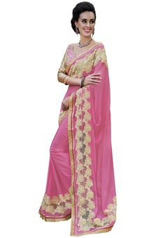 #Pink #Chiffon #Saree With #Blouse.  #Pink #Chiffon #Saree #designed with #Zari,#Resham #Embroidery.   INR: 2,001.00  With Exclusive Discount  Grab: http://tinyurl.com/guzshuz