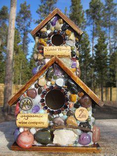 Outdoor Mosaic art Birdhouse with Amethyst by WinestoneBirdhouses, $85.00
