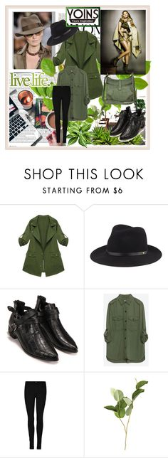 """YOINS: ARMY GREEN COAT!"" by ramiza-rotic ❤ liked on Polyvore featuring ASOS, rag & bone, Zara, OKA, Frye, women's clothing, women's fashion, women, female and woman"