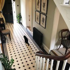 Good morning from the Period Home and Interiors Team. Victorian mosaic floor tiles and a cast iron radiator. Available from our North London showroom. Victorian Hallway Tiles, Edwardian Hallway, Tiled Hallway, Modern Hallway, Victorian Flooring, Victorian Mosaic Tile, Entrance Hall Decor, Hallway Ideas Entrance Narrow, House Entrance