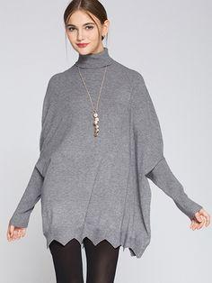 One Size Turtleneck Irregular Hem Loose Sweaters Batwing Sleeve Women Knit Jumper - OneBling