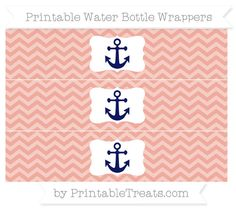 Pastel Coral Chevron  Nautical Water Bottle Wrappers