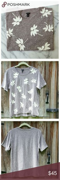 "♨LAST CHANCE♨ J. Crew Floral Swing Tee Super soft heathered burgundy tee with white flowers. Relaxed fit, high-low hem, modified trapeze shape. Width at bust 18.5"", at hem 21.5"". Length 22"" in front,  24"" in back. Cotton/poly/viscose, machine wash/dry. PRICE FIRM. J. Crew Tops Tees - Short Sleeve"