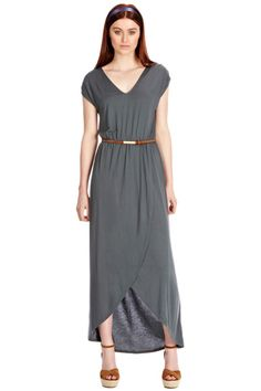 V Neck Drape Maxi Dress