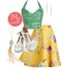 In this outfit: Grass is Greenest Top, Ikebana for All Skirt in Floral, Key to Simplicity Earrings, Joy and Merriment Flat in White, Muddled Mojitos Necklace #croptop #floral #retro #flats