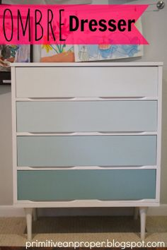 Primitive & Proper: Aqua and White Ombre Midcentury Dresser