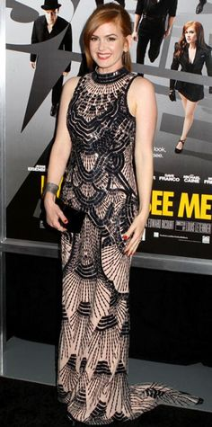 MAY 22, 2013 Isla Fisher WHAT SHE WORE Fisher sparkled in a deco L'Wren Scott column, sleek Roger Vivier clutch and Yossi Harari jewels at the New York premiere of Now You See Me.