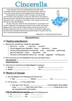 Worksheets Short Story Questions short story with comprehension questions english reading cinderella