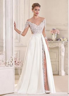 Buy discount Stunning Tulle & Satin Bateau Neckline See-through A-Line Wedding Dresses With Lace Appliques at Laurenbridal.com