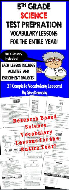 5th grade science vocabulary lessons and differentiated enrichment lessons for the entire year, 27 science vocabulary lessons to teach your students important concepts necessary to pass their state science exam.  This product can be used for vocabulary introduction, review or intervention of the important science vocabulary fifth graders need to know.$