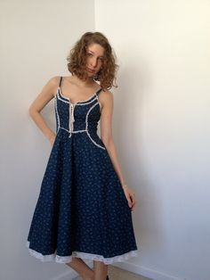 vintage 70s gunne sax navy calico corset sundress by vintspiration, $44.00