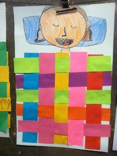 Paper weaving quilt self portrait sleeping elementary art lesson First Grade Art, 2nd Grade Art, Paper Weaving, Weaving Art, Jr Art, Tech Art, Ecole Art, School Art Projects, Kindergarten Art
