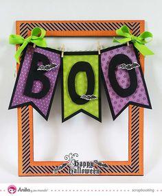 Decoración para #Halloween con papeles de #scrapbooking hecha con papeles de la marca Anita y su mundo