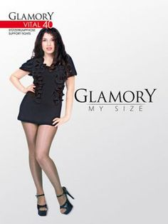 8a0b7ee10fc78 Glamory Vital 40 Support tights Style 50124 Black Sizes to 4XL