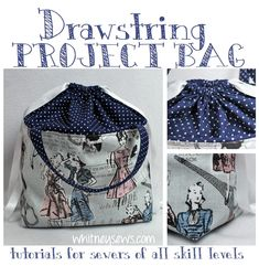 This cute drawstring bag is perfect for keeping your small projects organized including knitting, embroidery, or small sewing and quilting projects. The bag is Sewing Projects For Beginners, Knitting Projects, Sewing Tutorials, Diy Knitting Project Bag, Sewing Tips, Sewing Hacks, Yarn Bag, Fabric Bins, Bag Patterns To Sew