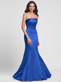 Vestido de Dama de Honor - Rojo/Azul Real/Marrón/Champaña/Púrpura Corte Sirena Strapless - Hasta el Suelo Satén Tallas grandes - USD $ 62.99