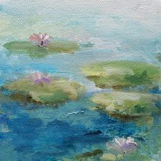 Cool serene pond with water lilies tranquil blue and green