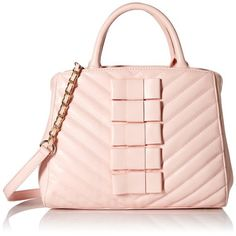$41.62-------BETSEY JOHNSON TIE AFFAIR SATCHEL BAG----- Color : Pink-- Polyvinyl Chloride--------- Imported--------- fabric lining--------- zipper closure--------- Chevron-quilted satchel with bow appliques, dual top handles, and hardware feet--------- Removable chain and faux-leather cross-body strap--------- Made in China---------