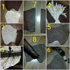 "2akakage2: "" How I made Tauriel arm bracers: 1. ) cut out the basic shape of your arm bracers on eva foam and wraped it with brown vinyl (p.u. leather) using either a spray adhesive glue or contact..."