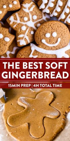 It wouldn't surprise me if these gingerbread cookies turn into the real stars of your Christmas celebration! This recipe makes the perfect cookies every time, nicely spiced with warm ginger, cinnamon, Köstliche Desserts, Christmas Desserts, Dessert Recipes, Holiday Baking Ideas Christmas, Soft Gingerbread Cookies, Holiday Cookies, Christmas Ginger Cookies, Gingerbread Men, Best Gingerbread Cookie Recipe