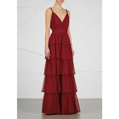 Alice + Olivia Gianna bordeaux tiered silk chiffon gown (€880) ❤ liked on Polyvore featuring dresses, gowns, plunging back dress, silk chiffon dress, circle skirt, pleated skater skirt and pleated dress