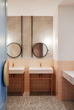 Salle de bain rose terracotta The Penny Drop Café -Studio We are Huntly Bathroom Mirror Inspiration, Bathroom Mirror Design, Bathroom Interior Design, Modern Bathroom, Mirror Ideas, Restroom Design, Bathroom Mirrors, Vanity Ideas, Funky Bathroom