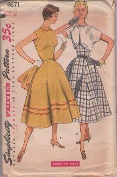 MOMSPatterns Vintage Sewing Patterns - Simplicity 4671 Vintage 50's Sewing Pattern GORGEOUS Petite Lucy Rockabilly Gored Skirt Ball Fringe Trim Summer Party Dress, Bolero Jacket