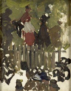 George Hendrik Breitner | The Funfair, George Hendrik Breitner, 1880 - 1923 | Kermisstudie. Vrouwen op een draaimolen?