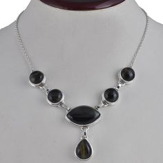 DESIGNER BLACK TIGER EYE 925 SOLID SILVER NEW STYLE NECKLACE 31.34g NK0040 #Handmade #NECKLACE