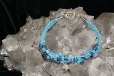 Blue Handcrafted Hemp Bracelet w/ Glass Beads finished with a Metal Closure #Handmade #NewAge