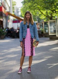 Slip dress, denim jacket