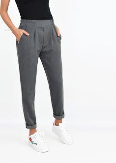 Pantalon à pince gris longueur cheville