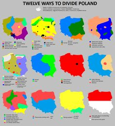 12 ways to divide Poland - Vivid Maps Poland Map, Poland Travel, Historical Maps, Historical Pictures, Stereotypes Funny, World Geography, Geography Map, King Of The World, South America