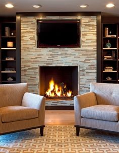 Spaces Mosaic Tile Fireplace Built Ins Design, Pictures, Remodel, Decor and Ideas - page 5 Mosaic Tile Fireplace, Fireplace Tile Surround, Fireplace Surrounds, Fireplace Design, Fireplace Glass, Mounted Fireplace, Fireplace Built Ins, Home Fireplace, Fireplace Remodel