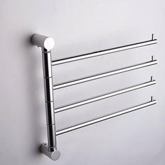 Towel Rack Option: Silver-White++Wall-Mounted+Space+Aluminum+Activities+4-Arm+Towel+Bar+–+USD+$+22.99