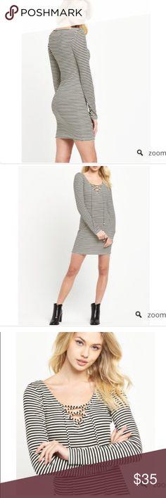 Denim and supply dress xs! NWOT! Cream and black striped tight fitting dress!  Ralph Lauren // Anthropologie // Free People Denim & Supply Ralph Lauren Dresses Mini