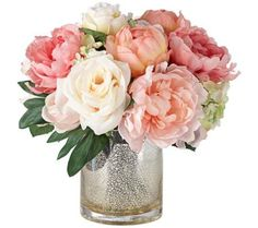 Peonies, Roses and Hydrangeas in a Large Mercury Glass Vase | 55DowningStreet.com