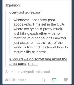 """Literally the legend series. Everyone else is just like """"What do we do about America?"""""""