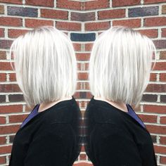Metallic white blonde with precision cut bob @hairbyac_alcorn