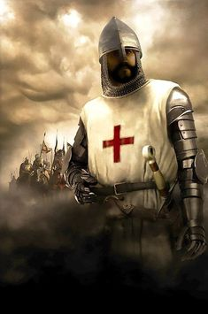 Chevalier Knight by Luca Tarlazzi Knights Templar History, Knights Templar Symbols, Knight In Shining Armor, Knight Armor, Silver Knight, Knight Tattoo, Crusader Knight, Christian Warrior, Medieval Knight