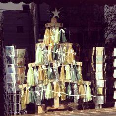 Tassel Christmas Tree Window Display in the Shop- Christmas 2013