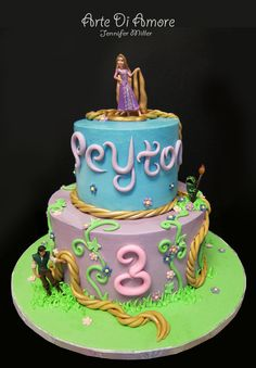 Tangled Cake by ~ArteDiAmore on deviantART Avery Ortega Rapunzel Birthday Party, Tangled Party, Birthday Cake Girls, 4th Birthday, Birthday Ideas, Birthday Cakes, Fancy Cakes, Cute Cakes, Cake Pops
