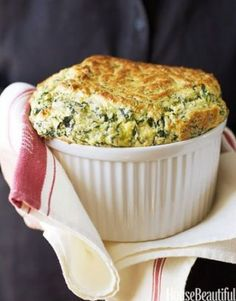 Ina's Spinach and Cheddar Soufflé