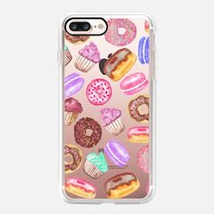 Casetify iPhone 7 Plus Case and other Sweet Tooth iPhone Covers - Yummy Watercolor Donuts Cookies Cupcakes and Muffin Dessert- Transparent by BlackStrawberry | Casetify